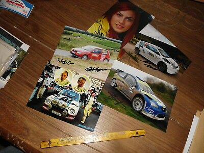 5X Signed Rally Photo Lot Vw Skoda Ford Focus Wrc Honda Rallye