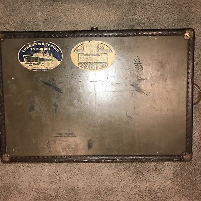 VINTAGE Trunk 1930s or early w/ Excelsior hardware Cunard White Star traveled