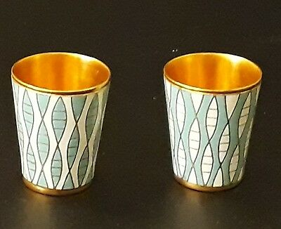 Russian Gilt & Enamelled Vodka Shot Cups Silver (?) Makers marks x2