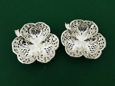 Pair of Antique Solid Silver 1906 Samuel Levi Pierced Clover Pin Dishes A/F