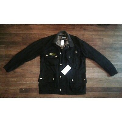 NWT Barbour International Black Waxed Mens XL Jacket