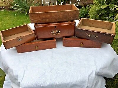 ATTN. RESTORERS JOB LOT 4x MAHOGANY DRAWERS for CHESTS + JEWELLERY BOX BASE etc