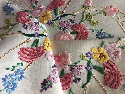Beautiful Vintage Linen Hand Embroidered Tablecloth ~ Carnations/roses/lilacs