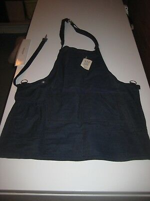 VTG Work Shop Apron HEAVY JEAN Denim METAL CLIP STEAMPUNK INDUSTRIAL MADE IN USA
