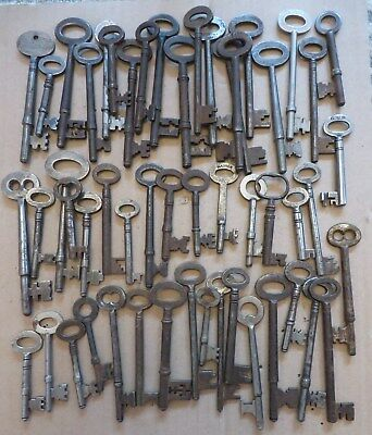 52 Old antique vintage rusty keys for locks. Steel rim mortice lock key.