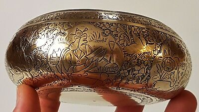 Beautiful Very Fine Quality Antique Persian Qajar Islamic Hand Chased Brass Bowl