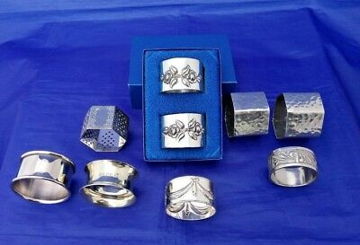 Collection of 9 Napkin Rings Some Pairs - 4 Silver Plate - 5 Pewter VGC