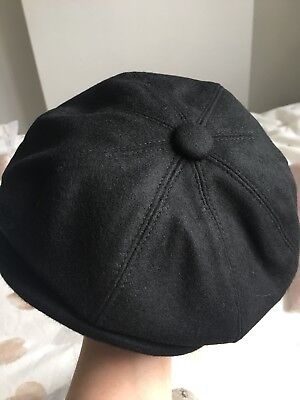 Mens Black Baker Boy Hat - Peaky Blinders Style, 57cm