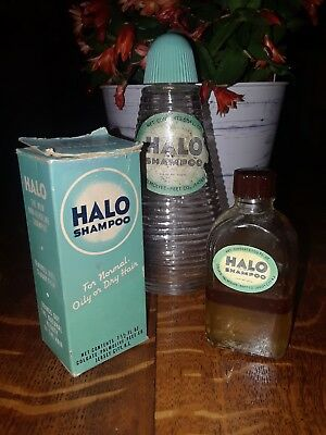 Vintage HALO SHAMPOO Box two bottles one half full both from the 40s or 50s??