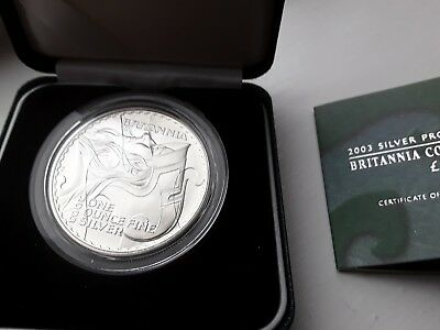 2003 Royal Mint Britannia £2 Two Pound Silver Proof 1oz Coin Box Coa