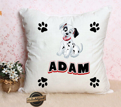 101 dalmatians square cushion cover personalized with first name