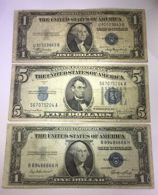 1934 ($5) Five Dollar 1935 ($1) Silver Certificate Blue Seal