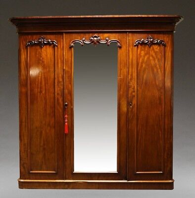 Large Ornate Victorian Antique Mahogany Triple Wardrobe
