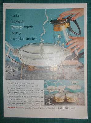 1959 Pyrex ad Party for the Bride Cinderella Divided Casserole Buffet Twins