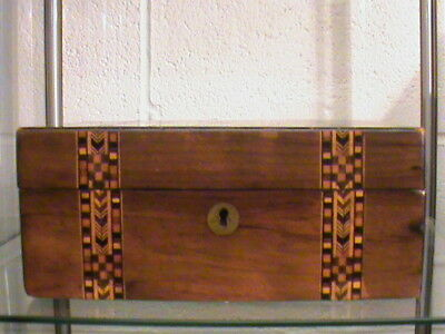 Victorian Antique Mahogany Wooden Box With Marquetry Inlay