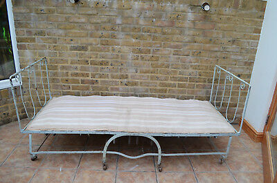 Antique French Day bed - Folding Campaign - sprung mattress. Edwardian/Victorian