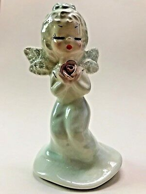 "Vintage Josef Originals Porcelain Angel Girl Figurine holding pink rose 4"" NR"
