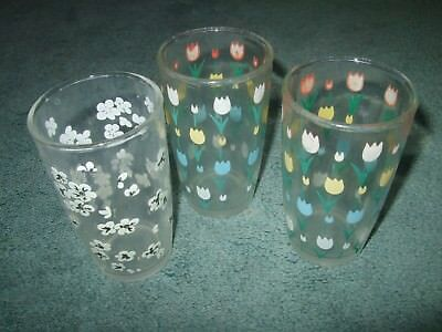 Set of 3 Vintage Swanky Swig Juice Glasses Flowers Tulips 3.5""