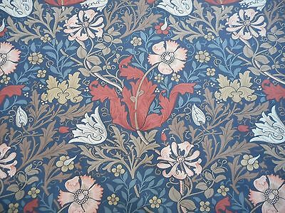 William Morris Curtain Fabric COMPTON 0.5 METRES Terracotta/Multi - 100% Cotton