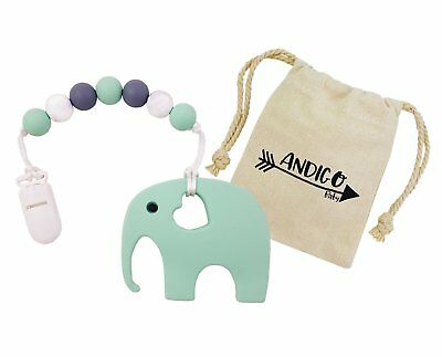 Teether Silicone with Clip and Teething Beads - Elephant