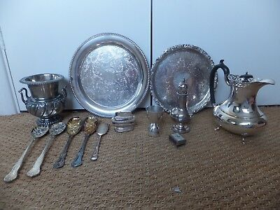 JOB LOT / COLLECTION OF antique/vint SILVER PLATED ITEMS- cofee POT TRAYS  ETC