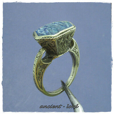 ** BLUE STONE **  ancient  SILVER  PERSIAN ring !!!