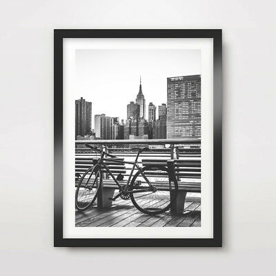 NEW YORK CITY BIKE BICYCLE ART PRINT POSTER Black White Home Decor Wall Picture