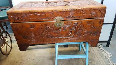 Antique / Vintage Chinese Camphor Wood Chest / Trunk With Brass Fittings