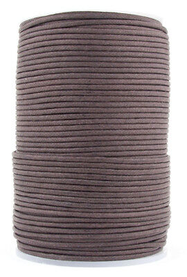Xsotica® Dark Brown Round Waxed Cotton Cord 2mm 100 meters