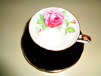 Aynsley Corset Shaped Black Large Pink Rose Tea Cup And Saucer