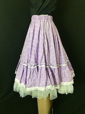 Vtg Square Dancing Skirt Violet Purple White Floral Western Lace Ruffles Small