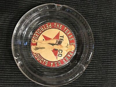 Vintage Texaco Glass Vargas Pinup Girl Ashtray