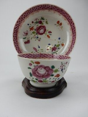 Antique Chinese export Famille Rose cup and saucer 18th century  with Stand
