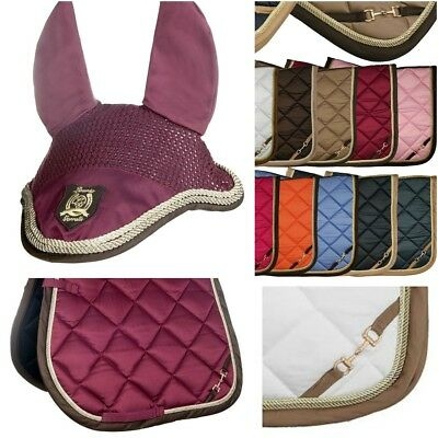 HKM BIT Saddle Pad + Ears Set - Dressage Full - WINE RED
