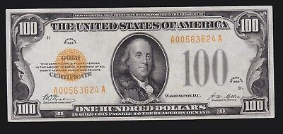 US 1928 $100 Gold Certificate FR 2405 XF (-624)