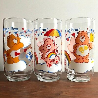 Vintage 1984 Lot 3 American Greetings Care Bears Glass Tenderheart Cheer Friend