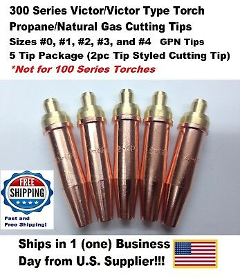 Propane/Natural Gas Cutting Tip 1-GPN #0,1,2,3,4 for Victor Type Torch-5Tips-2pc