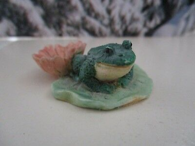 Frog Art Tiny Figure Lily pad Flower Topper Diorama Doll House