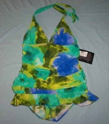 Nwt New Simply Swim Dressbarn 1-Pc Shirred Swimdress  12 L May Fit 10 10/12 M/l
