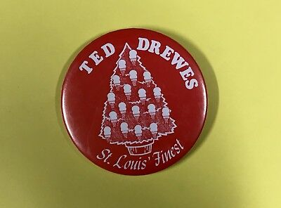 """Vintage Ted Drewes Frozen Custard St. Louis Christmas 3"""" Pin Back Button Scarce!"""