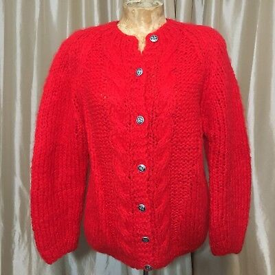 Vintage Womans Mohair Cardigan Sweater Red Made In Itally Silver Buttons VLV