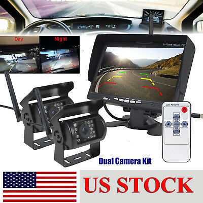 """7"""" Monitor+2x Wireless Rear View Backup Camera Night Vision for RV Truck Bus Kit"""