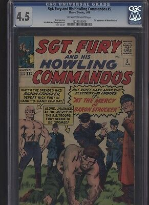 Sgt. Fury and His Howling Commandos #5 CGC 4.5 - 1st app BARON STRUCKER 1964