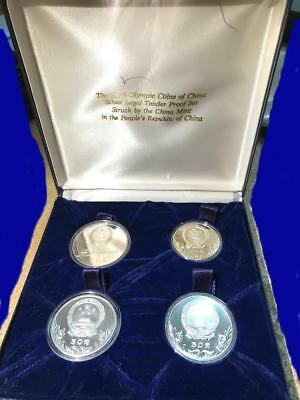 1980 China Olympics Silver Proof Coin Set of 4 - Original Case PRC