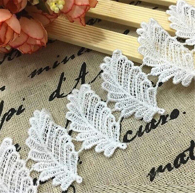 FD3071 Elegant Leaves Embroidered Lace Sewing Trim DIY Craft Appliques 1 Yard♫