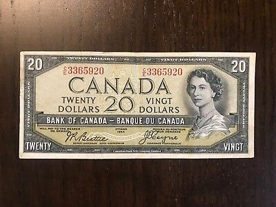 Canada 1954 20$ VF DEVILS FACE  Beattie Coyne Canadian Currency.