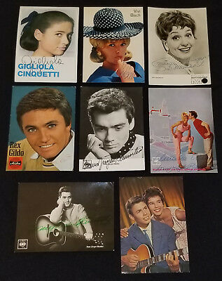 1960's - European - Singers - Autographs - Postcards - (8) - Original