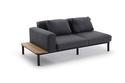 sofa 2 sitzer mit ablage lea premium teakholz gartensofa gartenm bel deluxe m eur. Black Bedroom Furniture Sets. Home Design Ideas