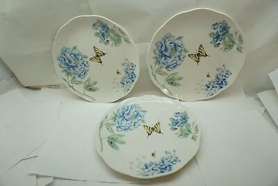 LENOX CHINA BUTTERFLY MEADOW PATTERN SET 3 DINNER PLATES 11in BLUE FLORAL  d