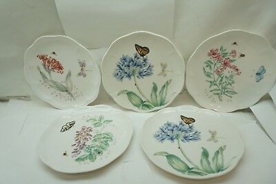 "LENOX CHINA BUTTERFLY MEADOW PATTERN SET 5 PLATES ACCENT LUNCHEON LUNCH 9-1/8"" d"
